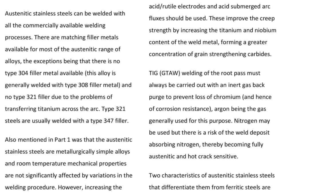 WELDING OF AUSTENITIC STAINLESS STEEL PART 2